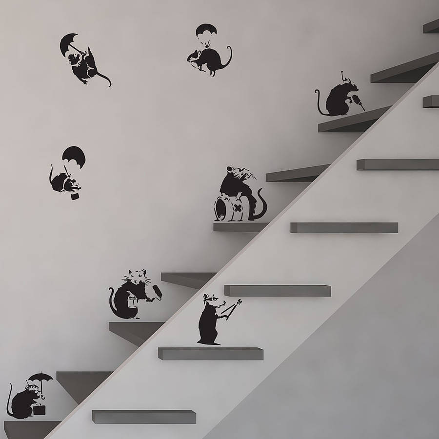 Banksy Rats Wall Art Decal Pack By Vinyl Revolution