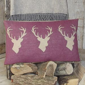 ' Plum Triple Stag ' Cushion