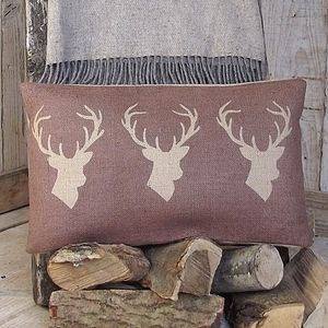 ' Chestnut Triple Stag ' Cushion - cushions