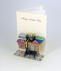 Personalised 3 D Sewing Greetings Card - seasonal cards