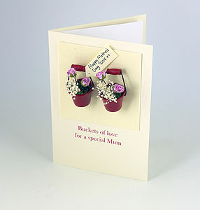 Buckets Of Love For My Mum Three D Greetings Card - mother's day cards