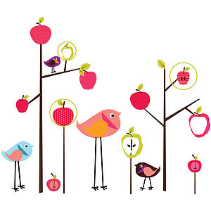 Apple Tree And Birds Wall Sticker