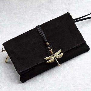 Dragonfly Leather Clutch Bag