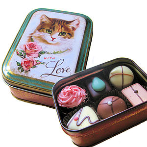 Handmade Chocolates In Cat Tin - chocolates
