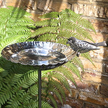 Stainless Steel Birdbath Garden Sculpture