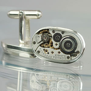Watch Movement Elgin Sterling Silver Cufflinks - men's jewellery