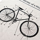 'Anatomy Of A Bicycle' Organic Tea Towel