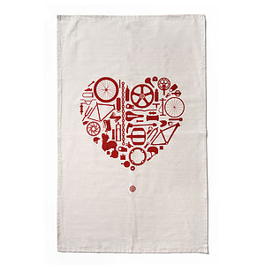 'Bike Love' Organic Tea Towel - tea towels