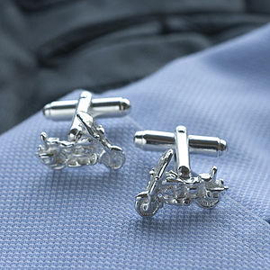 Motor Cycle Silver Cufflinks