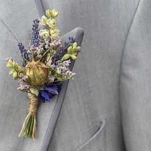 Provence Buttonhole Set Of Four - wedding fashion