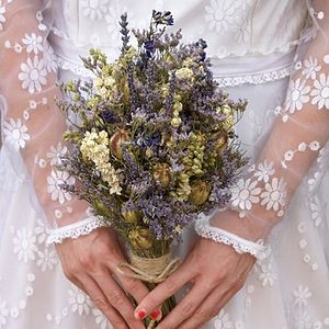 Provence Dried Flower Wedding Bouquet - enchanted wedding trend