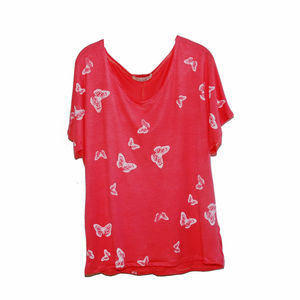 Coral Butterfly Hand Printed Tee