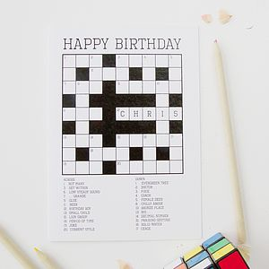 Personalised Crossword Puzzle Card