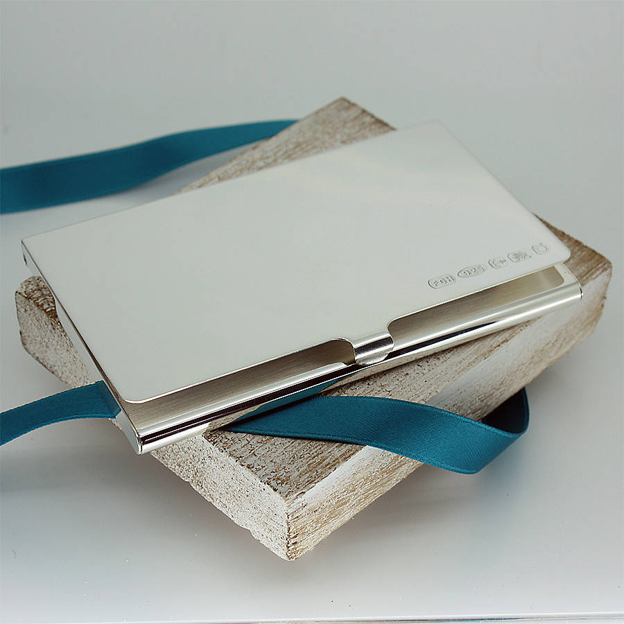 personalised slimline silver business card holder - Silver Business Card Holder