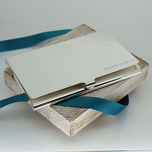Personalised Slimline Silver Business Card Holder - gifts