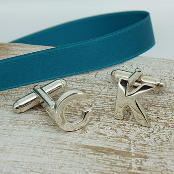 Alphabet Initial Cufflinks Silver