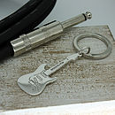 Personalised Silver Electric Guitar Keyring
