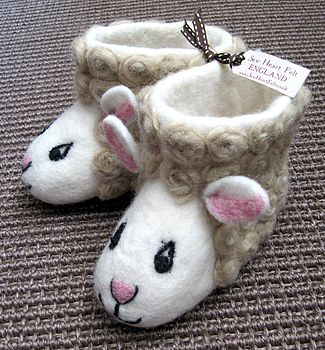 Adult Suzie Sheep Felt Slippers