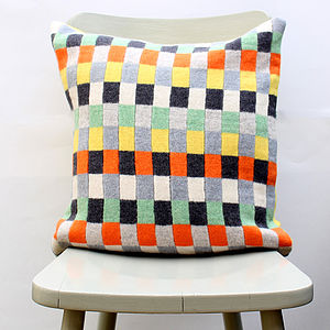 Plato Knitted Lambswool Cushion - patterned cushions