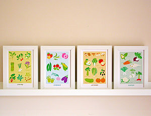 Set Of Four Seasonal Kitchen Print