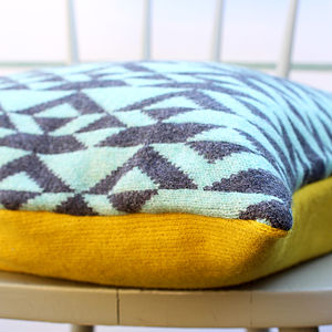 Blue And Charcoal 'Pelt' Knitted Cushion - patterned cushions