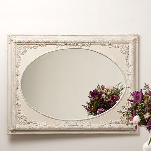Dutch Oval Ornate Cream Painted Mirror - mirrors