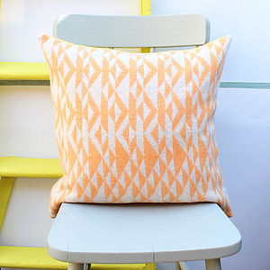 Orange And Cream 'Pelt' Knitted Cushion - bedroom