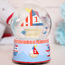 Large Musical Boat Snow Globe Dome