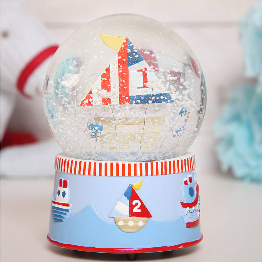 Large Musical Boat Snow Globe Dome By Red Berry Apple