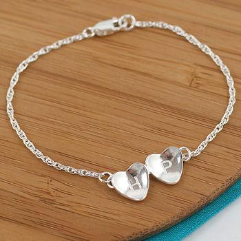 Bridal silver heart bracelet