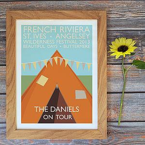 'Festival' Personalised Vintage Travel / Music Print - prints & art