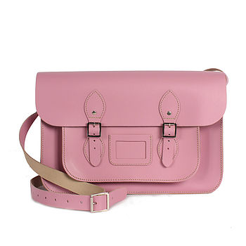 Pink - Leather Satchel Collection, Large