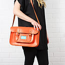 Orange - Leather Satchel Collection, Large