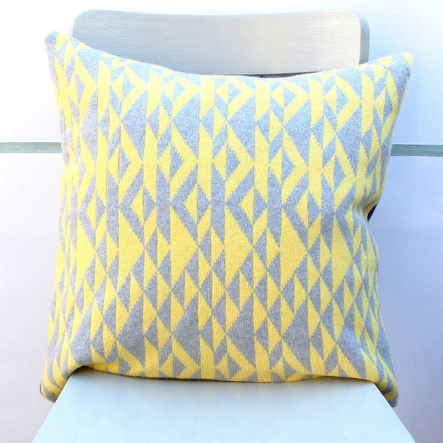 Grey And Yellow Pelt Knitted Cushion