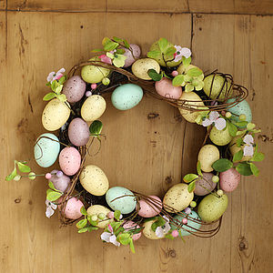 Spring Blossom And Pastel Easter Egg Wreath - easter home