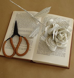 Book Page Paper Rose - room decorations