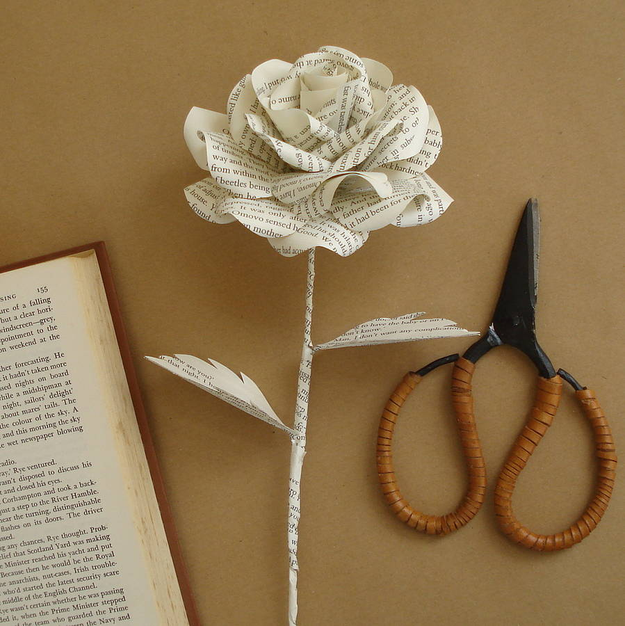 Book page paper rose by suzi mclaughlin notonthehighstreet book page paper rose mightylinksfo