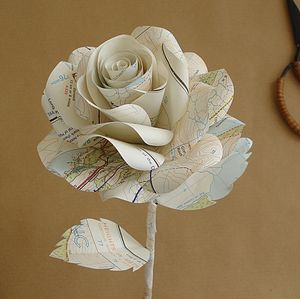 Map Paper Rose - unusual favours