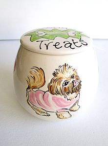 Treat Jar With A Portrait Of Your Dog - food storage