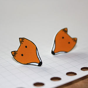 Fox Face Stud Earrings - earrings