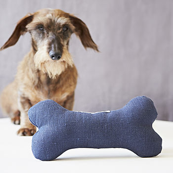 Navy Linen Dog Bone