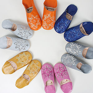 Leather Sequin Babouche Slippers, Essential Collection - slippers
