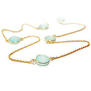 Aqua Chalcedony Timeless Necklace - fine jewellery