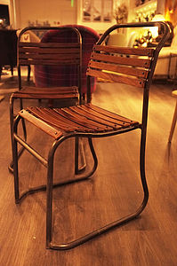 Vintage Iron And Wood Slated Chairs - furniture