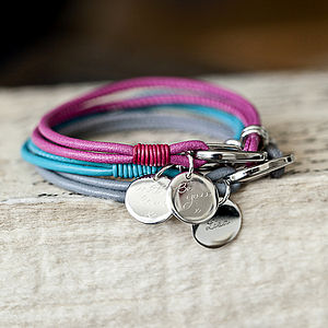 Soft Leather Bracelet With Personalised Charm - for her