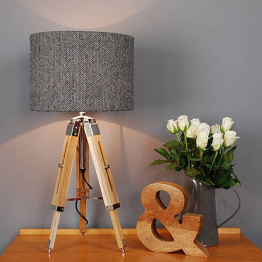 Harris Tweed Herringbone Tripod Table Lamp By Quirk
