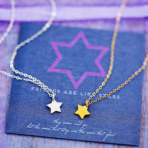 Tiny Star Necklace On Friendship Card - gifts for friends