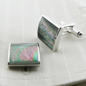 Silver Concave Mother Of Pearl Cufflinks - 30th anniversary: pearl