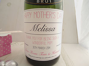 Mother's Day Champagne Label Pink - wines, beers & spirits