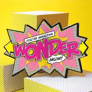 'Wonder Mum' Comic Cracker Card - mother's day cards